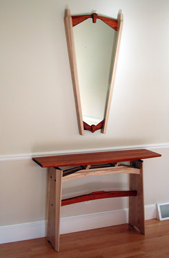 Mirror And Trestle Hall Table